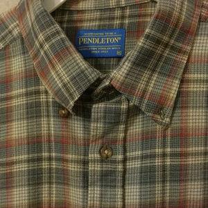 SIR PENDLETON Worsted Wool Plaid Shirt XL